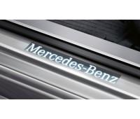 Панель порога двери, с подсветкой спереди, комплект из 4 (6 предметов) серый для Mercedes C218, X218, S212, W212