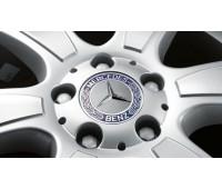 Крышка ступицы колеса, Звезда з лавровым венком, класический дизайн, синий для Mercedes