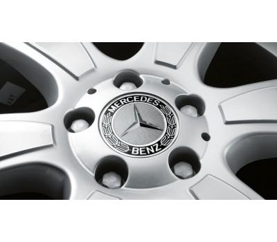 Крышка ступицы колеса, Звезда з лавровым венком, класический дизайн, черный для Mercedes