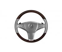 Кожаное рулевое колесо дерево/кожа коричневый/серый для Mercedes A207, C207