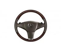 Кожаное рулевое колесо дерево/кожа коричневый для Mercedes A207, C207