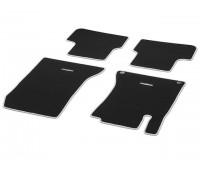 Велюровые коврики CLASSIC, комплект, 4 шт. черные с светло-серым кантом для Mercedes C117, X117, X156