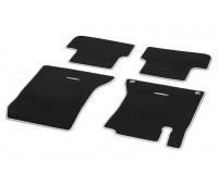 Велюровые коврики CLASSIC, комплект, 4 шт. черные с серой окантовкой для Mercedes W176, W246, C117, X117, X156