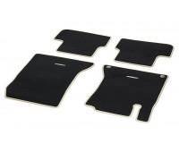 Велюровые коврики CLASSIC, комплект, 4 шт. черные с бежевой окантовкой для Mercedes W176, W246, C117, X117, X156