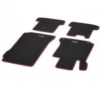 Велюровые коврики SPORT, комплект, 4 шт. черные с красным кантом для Mercedes C204, A207, C207