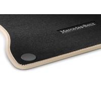 Велюровые коврики CLASSIC, комплект, 4 шт. черные с бежевой окантовкой для Mercedes W242EV